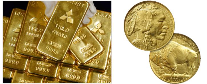 Figure 1. Gold (ingots) vs. Gold Coin (2009 $50 American Buffalo Gold Coin)
